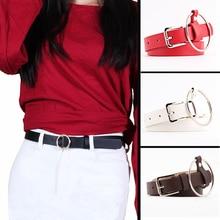 punk Women Belt Imitation leather Alloy Pin Buckle Belt New Double Circle Button Belt Leisure Jeans Fashion Dress off white belt