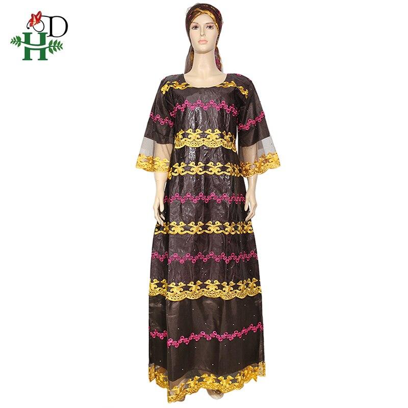 H&D African Dresses For Women Embroidery Bazin Riche Dress Lace Patchwork Maxi Dress With Turban Plus Size Lady Vestido De Noche