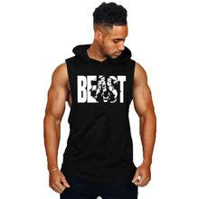 Homens ginásio musculação stringer tank top 100% algodão treinamento de fitness com capuz colete músculo caras sem mangas ginásios hoodie colete