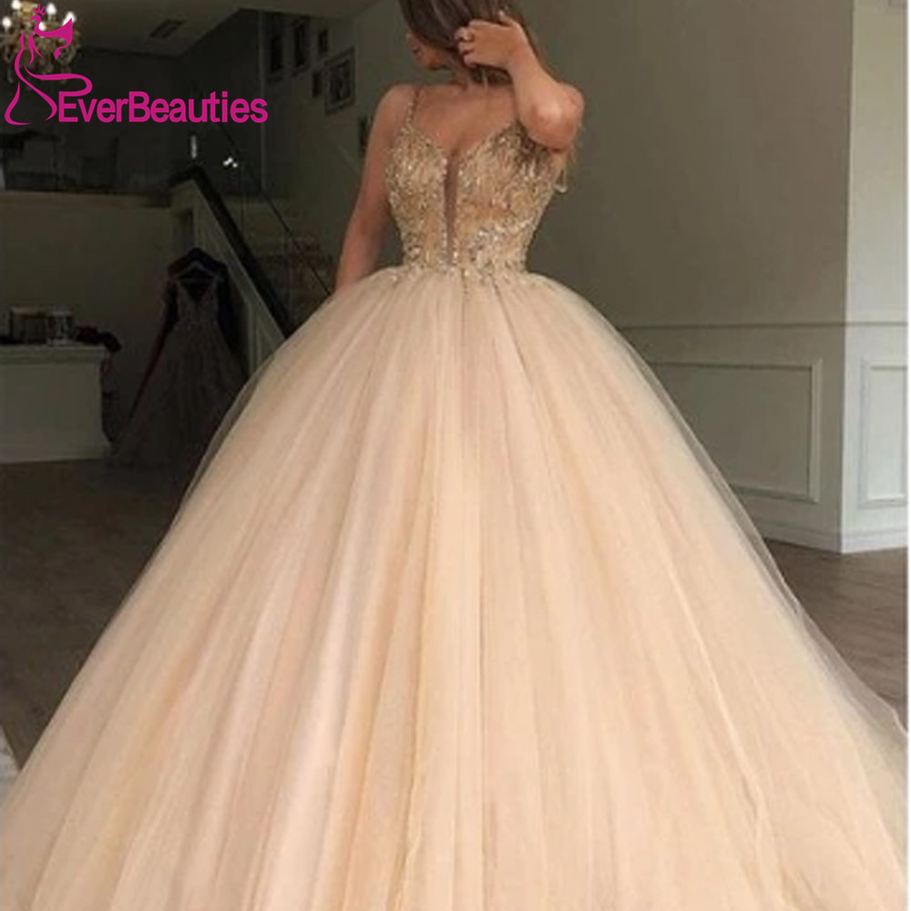 Ball Gown Beads Bodice Long Prom Dresses 2020 вечернее платье Sexy V Neck Evening Formal Gowns Robe De Soiree