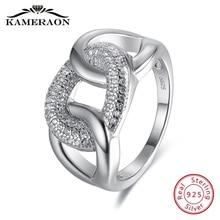 مجوهرات نسائية رائعة خواتم فضة استرلينية عيار 925 مجوهرات زيركون على شكل خيط فاسق خاتم زفاف مسائي أنيق واسع