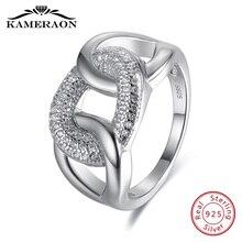 Vrouwen Fijne Sieraden 925 Sterling Zilveren Ringen Punk Draad Zirkoon Sieraden Grote Brede Mode Bruiloft Avondfeest Ring