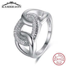 Womens Fine Jewellery 925 Sterling Silver Rings Punk Thread Zircon Jewelry Big Wide Fashion Wedding Evening Party Ring