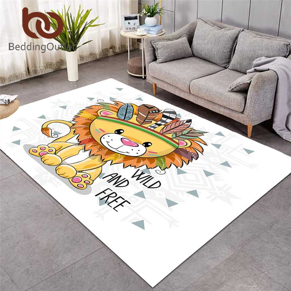 BeddingOutlet Lion Large Carpet For Living Room Geometric Cartoon Play Floor Mat Tribal Animal Area Rug For Kids Room 152x244cm