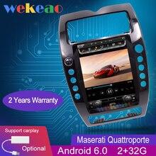 """Pantalla Vertical Wekeao estilo Tesla navegación de 12,1 """"Radio Android 6,0 para coche con GPS para reproductor de DVD de coche Maserati Quattroporte 2008-2012"""