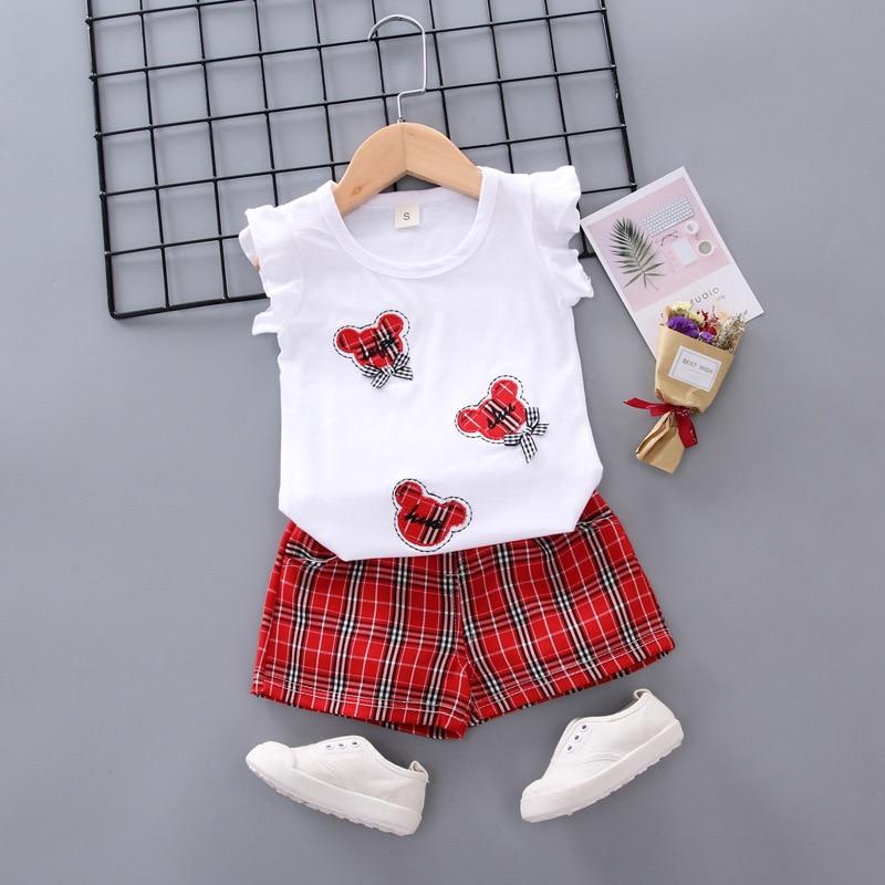 2020 Summer Children 's Cotton Casual Cartoon Vest   Shorts 2Pcs Suit Toddler Baby Girl Clothes Children 's Clothing 1 - 4Y