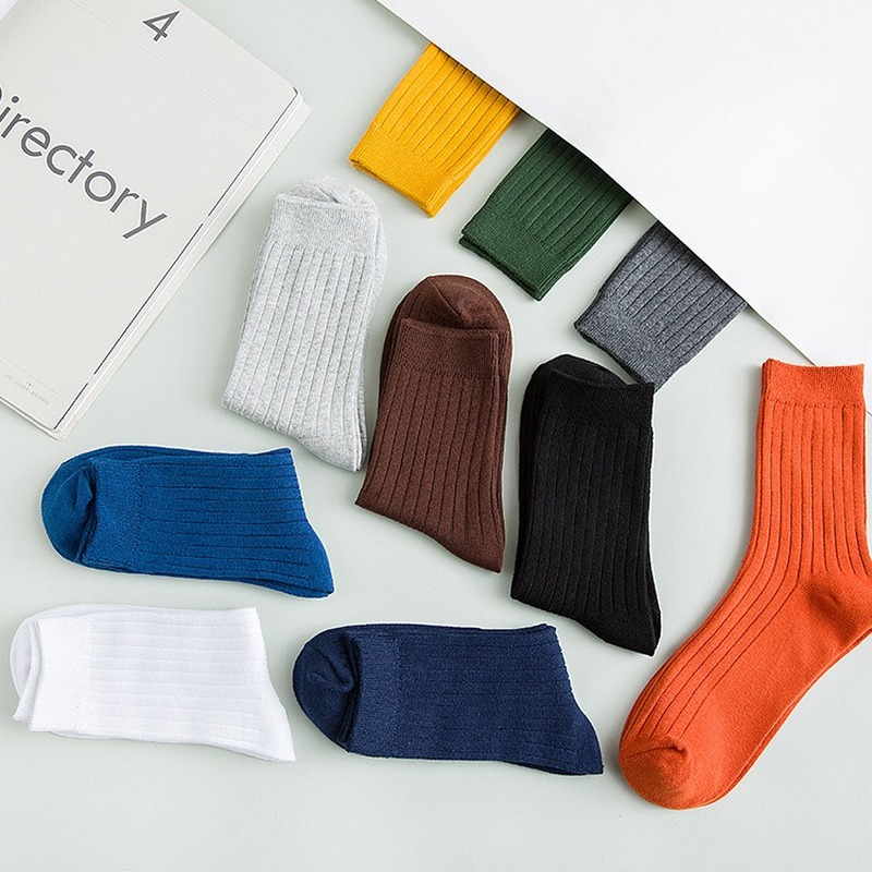 Pure Color Mens Socks Cotton Warm Black And White Happy Socks Male  Gifts For Men EUR 39-44 387