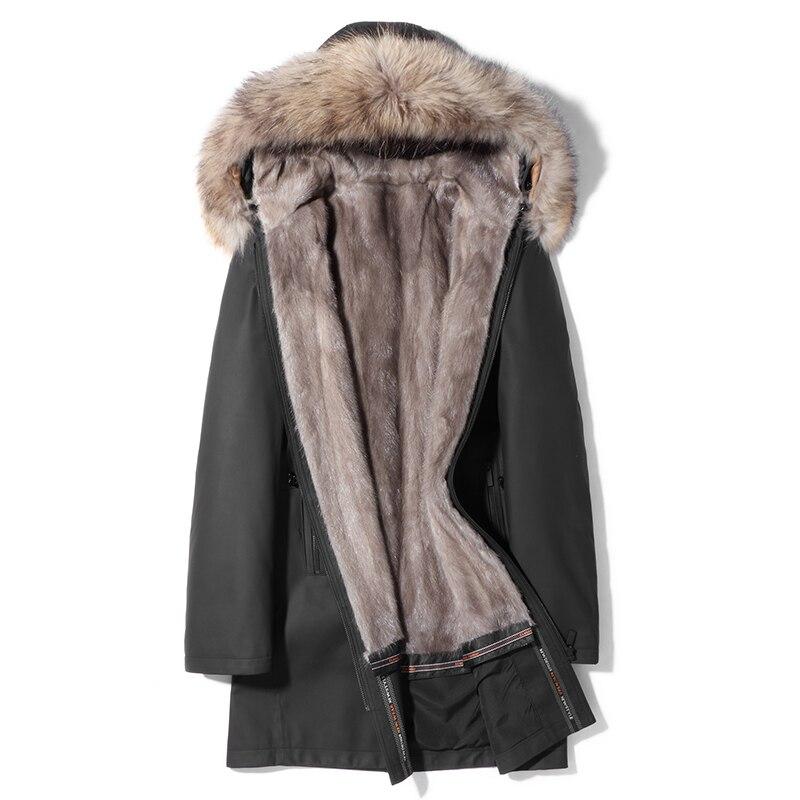 Cow Leather Jacket Men Real Mink Fur Coat Mens Leather Jacket Raccoon Fur Collar Winter Coat Real Fur Parka MA8201HF621 YY1123