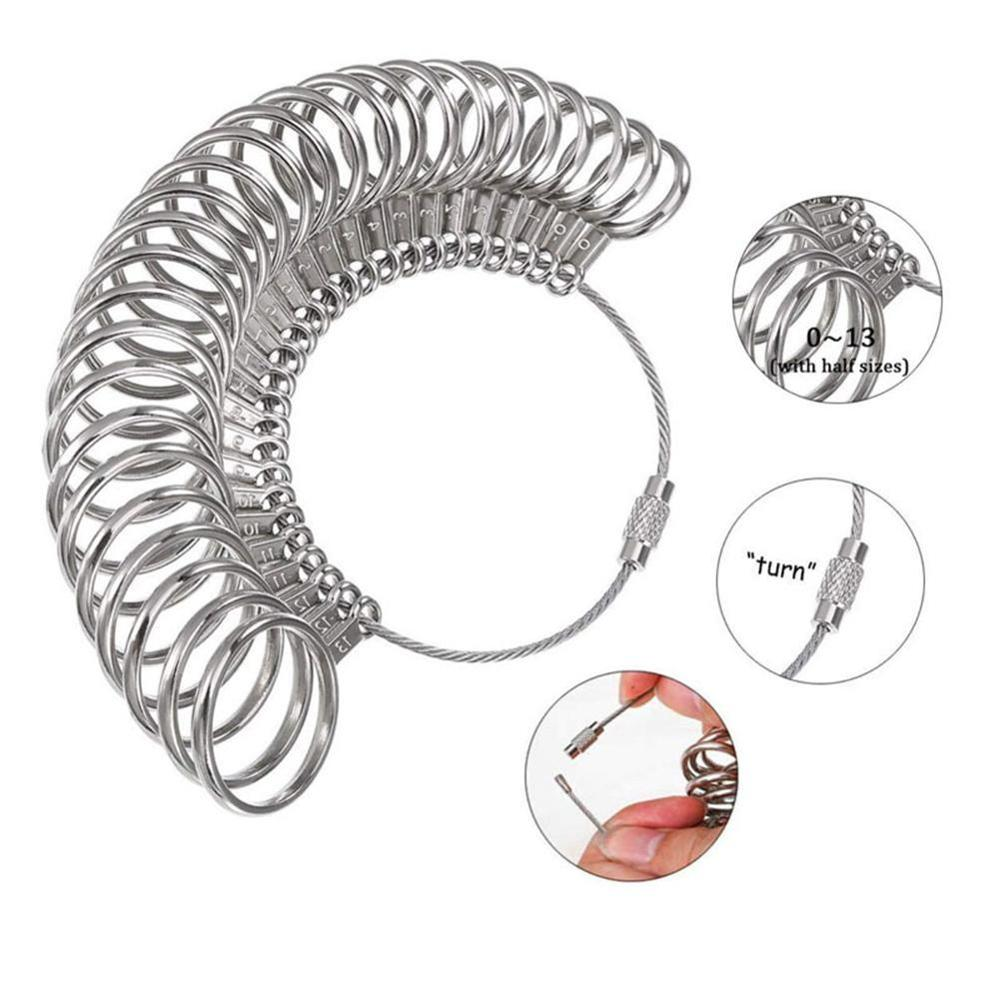 New Design Ring Sizer Set Jewelry Rings Sizer Gauge Tool Stainless On Finger Measuring Ring Tool Rings Set Size
