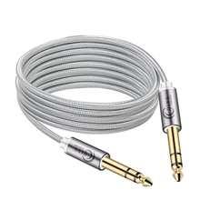 Câble stéréo 6.35mm à 6.35mm, 1/4 pouces, câble mâle pour haut-parleur TRS, en Nylon tressé, câble Jack 6.5mm pour mélangeur, amplificateur de basse 6.35mm