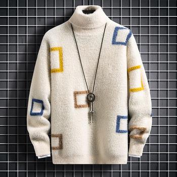 Zimowy sweter na szyję gruby ciepły sweter męski sweter męski z golfem Slim dopasowany sweter męski sweter męski podwójny kołnierzyk Drop Shipping tanie i dobre opinie CHINA 10719-7116P58 List Na co dzień Akrylowe COTTON Z wełny Mieszkanie dzianiny Swetry Pełna NONE REGULAR Wełna liner