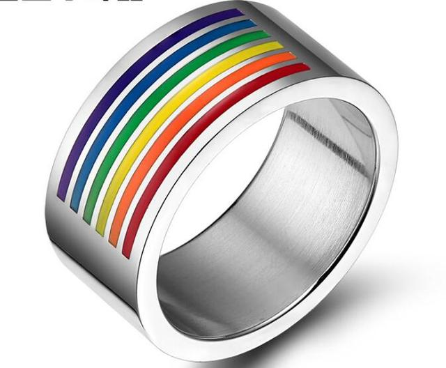 Mens Womens Rainbow Colorful LGBT Ring Stainless Steel Wedding Band Lebian & Gay Rings Drop Shipping 1