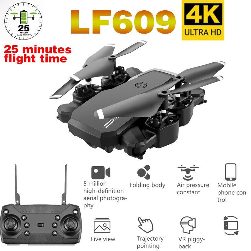LF609 Дрон 4K с HD камерой wifi 1080P двойная камера следуя за мной Квадрокоптер FPV Профессиональный Дрон долгий срок службы батареи игрушка для детей