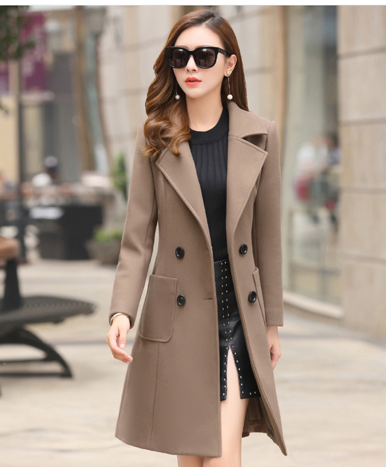 Woolen Women Jacket Coat Long Slim Blend Outerwear 2019 New Autumn Winter Wear Overcoat Female Ladies Wool Coats Jacket Clothes 13