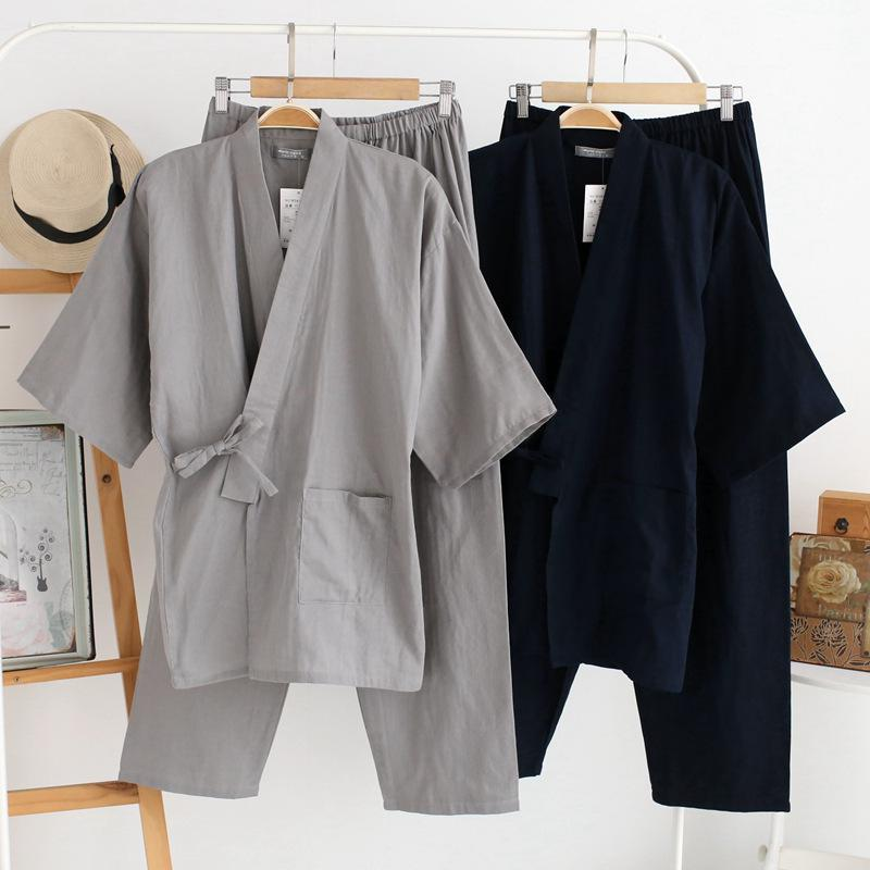 Sleepwear Set Men's Cotton Kimono 2Pcs Robe & Pants Home Wear Loose Pajamas Suit Solid Nightwear With Pocket Men Kimono