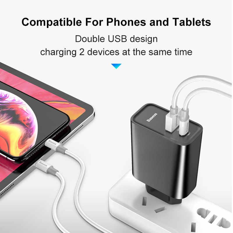 Baseus 2 Cổng USB Sạc Nhanh 30W Hỗ Trợ Sạc Nhanh Quick Charge 4.0 3.0 Sạc Điện Thoại Di Động USB C PD Sạc QC 4.0 3.0 ForXiaomi