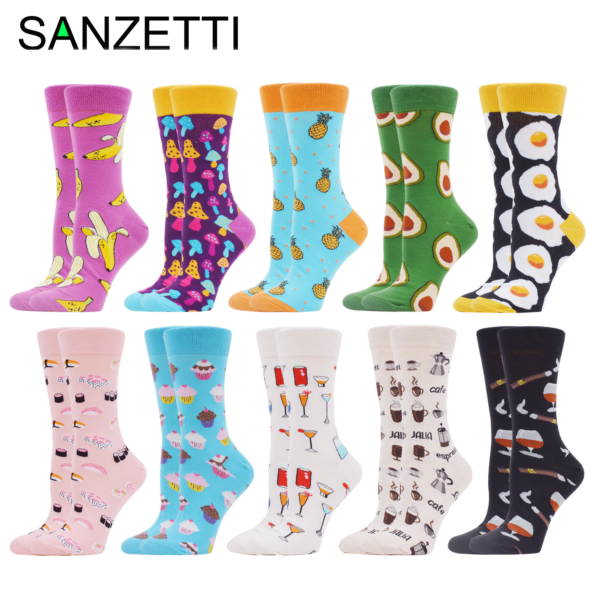 SANZETTI New Women\'s Socks Funny Colorful Combed Cotton Home Comfortable Donut Ice Cream Fresh Fairy Wedding Gift Party Socks