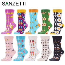 SANZETTI New Women's Socks Funny Colorful Combed Cotton Home Comfortable Donut Ice Cream Fresh Fairy Wedding Gift Party Socks