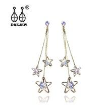 DREJEW Gold Silver Zircon Crystal Star Statement Dangle Earrings 2019 Long Tassel 925 Drop Earrings Sets for Women Jewelry E8211 недорого