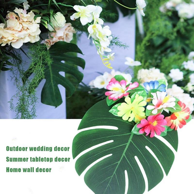 home decor silk floral arrangement floral decor tropical.htm hot xd 90pcs tropical palm leaves and hibiscus flowers  artificial  hot xd 90pcs tropical palm leaves and