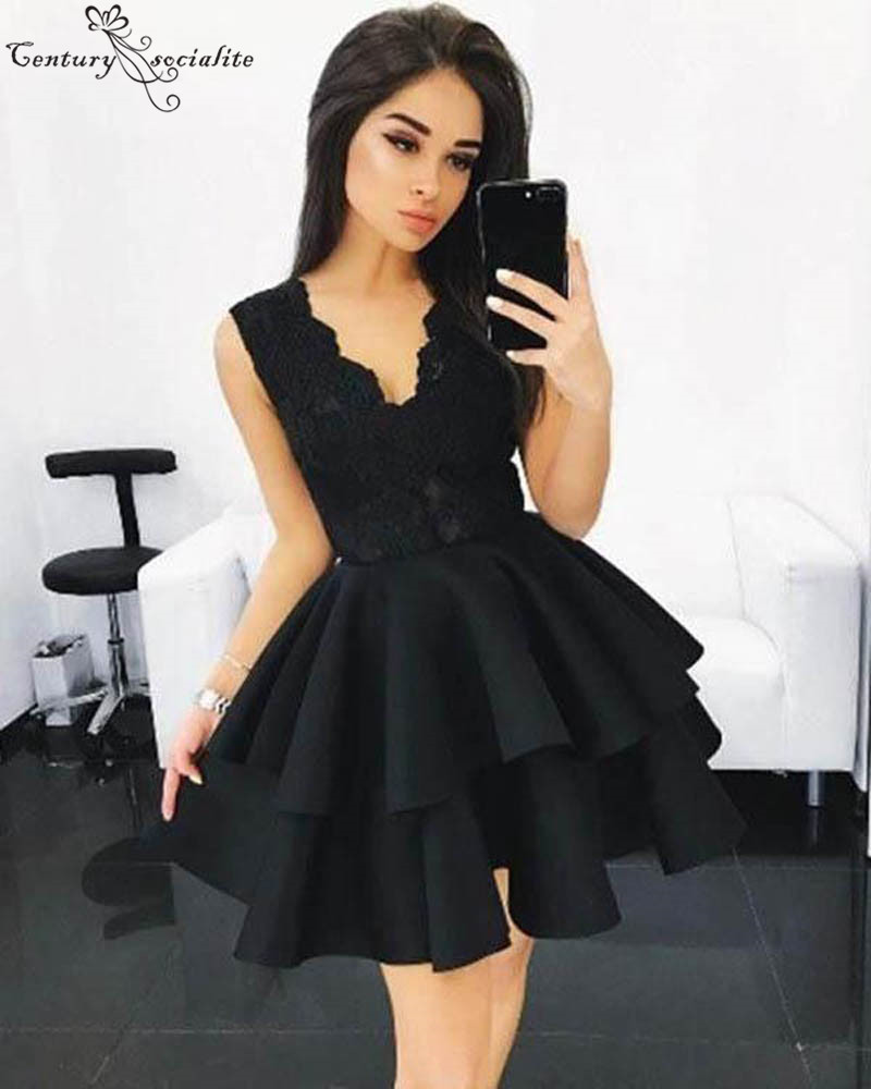 Sexy Black Lace Short   Cocktail     Dresses   2019 Freshman Satin Skirt Appliques Zipper Back Mini Homecoming   Dresses   Prom Party Gowns