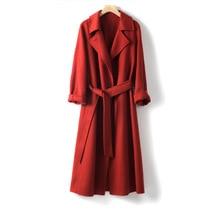 Shuchan 100% Wool Adjustable Waist  Women Long Coat Slim Turn-down Collar Office Lady Solid Abrigos Mujer Elegante high quality