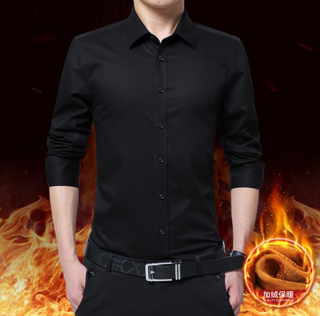 2020 New Men's Long-sleeved Shirt Men's Thick Casual Shirt Men's Slim Solid Color Shirt  JG225-01-17