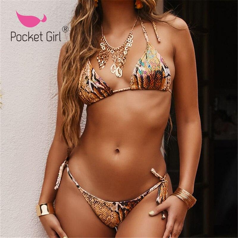 Pocket Girl 2020 Brazilian Bikini Thong Micro Print Bikini Swimwear Women Bathers Push Up Swimsuit Female String Bathing Suit