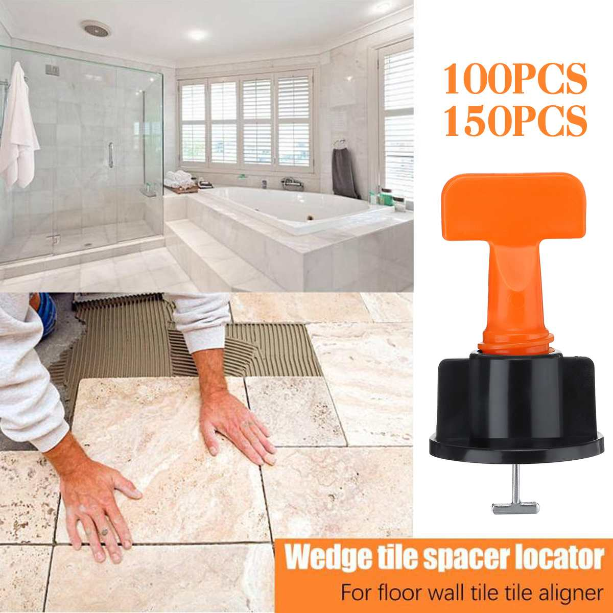 100Pcs Tile Leveling System Toolkit Level Wedges Alignment Spacers For Leveler Locator Spacers Plier Flat Ceramic Floor
