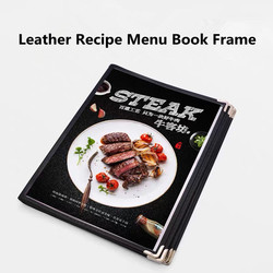 A4 Black Leather Recipe Menu Paper Book Frame PVC Menu Binder Inner Page Replaceable Restaurant Cafe Table Menu Holder Stand
