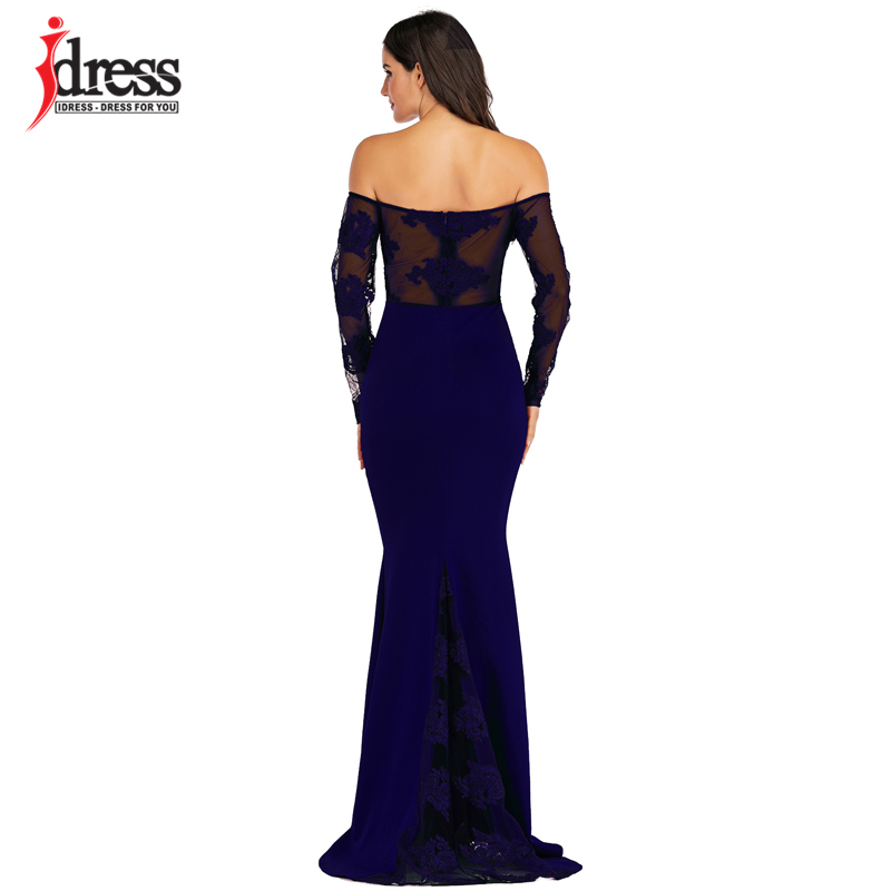 IDress Sexy Slash Neck Off Shoulder Designer Runway Dress Formal Prom Long Dress Women Lace Embroidery Evening Party Dress Long (2)