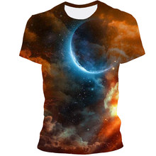 2021 New Starry Sky View Tshirt Men's Summer 3D Printing Short-Sleeved Round Neck Fashion Casual Loose Breathable Top Large Size