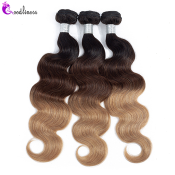 Goodliness 1/3/4pcs 613 Body Wave Bundles Brazilian Hair Weave Bundles Remy Three Tone 1b/4/27 1b/4/30 Ombre Human Hair Bundles 3