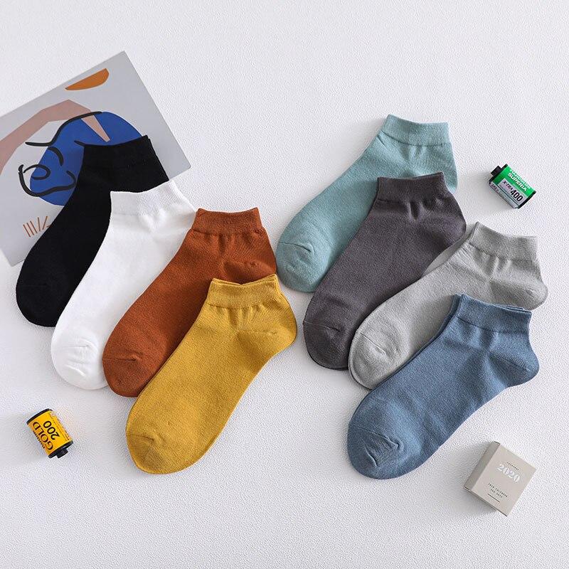 Spring Summer Men Cotton Ankle Socks For Men's Business Casual Solid Color Short Socks Male Sock Slippers Meias
