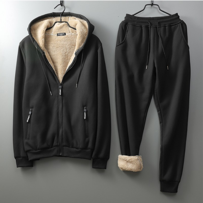 Mens Winter Hoody Sweatshirt Casual Two Piece Sets Fleece Lining Tracksuit Elastic Waist Outside Jogging Suits Thick Warm Sets