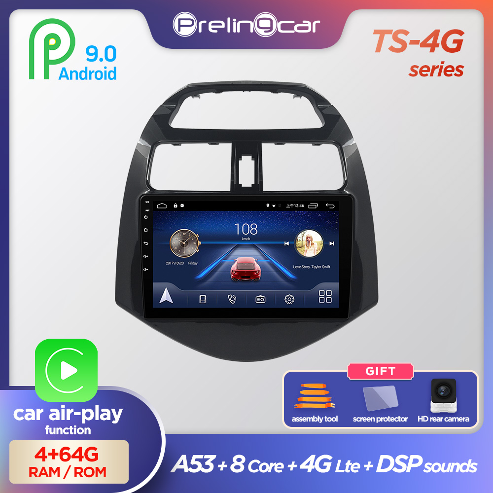 Prelingcar Android 9.0 NO DVD 2 Din Car Radio Multimedia Video Player Navigation GPS For Chevrolet Spark M300 2010 11 12 13 <font><b>14</b></font> image