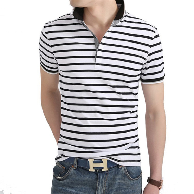 Men's   Polo   Summer 2019 Men's Leisure Businessmen White-collar Stripe Sleeves Short-sleeved   Polo   Shirt Cotton Pure Workwear