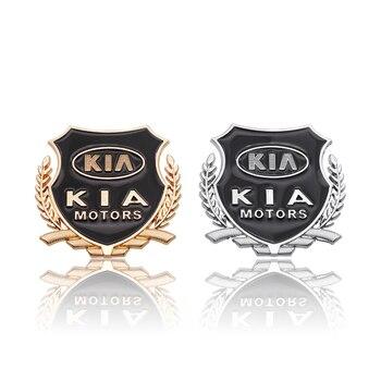 2pcs Car Styling  Metal Sticker Emblem Side Door and Window Visor Badge Fender Sign Kia