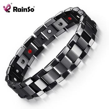 Rainso 2021 New Natural Healthy Bracelet Trendy Unisex Bio Energy Titanium Negative Ions Germanium Bracelets 1