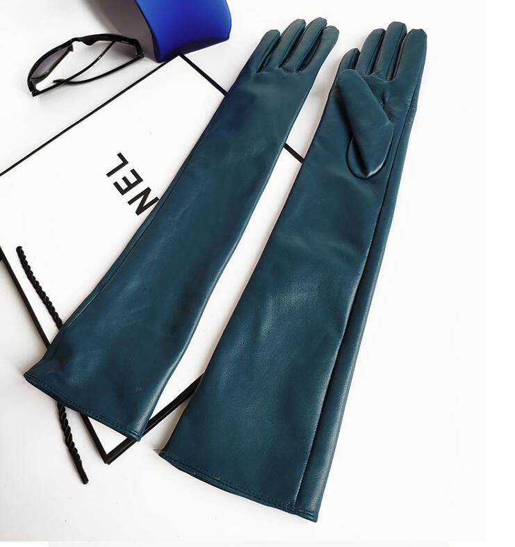 Women's Natural Sheepskin Leather Long Glove Lady's Genuine Leather Touch Screen Driving Glove 45cm R2302
