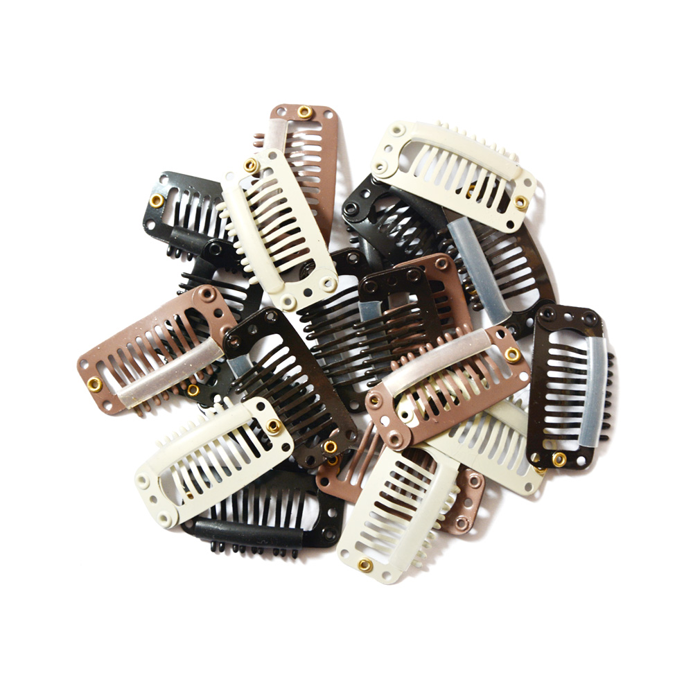 12 Pcs 32mm 9-teeth Hair Extension Clips Stainless Steel Wig Clips Combs Snap Clips With Rubber For Hair Extension Toupee DIY