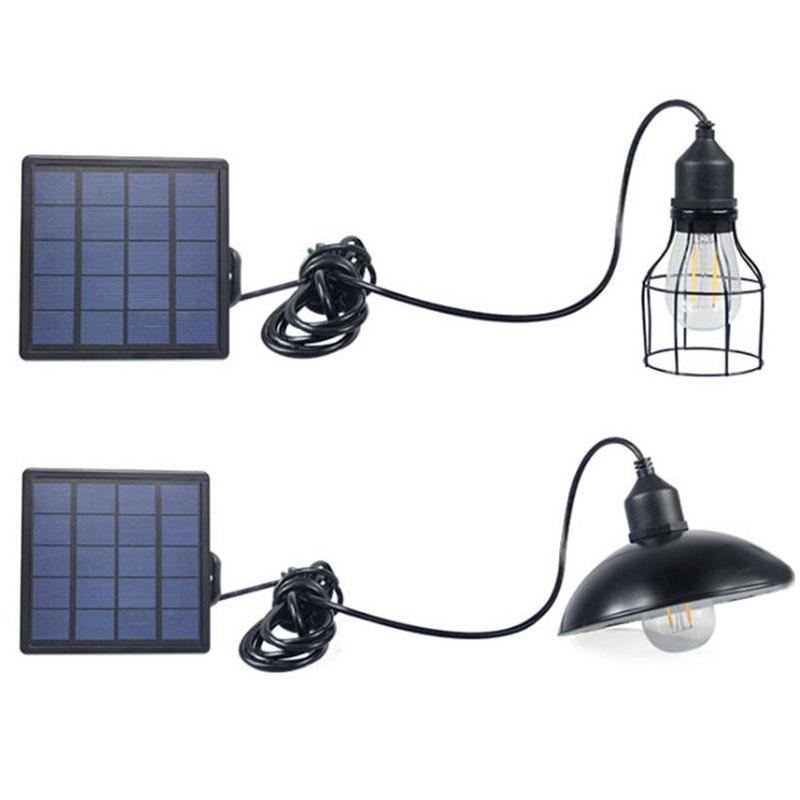 Solar Powered Pendant Light Retro Lampshade Bulb Chandelier Waterproof Garden Led Solar Energy Hanging Lamps For Outdoor Cafe