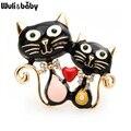 Wuli & baby Zwei Emaille Katze Broschen Für Frauen 5-farbe Katze Pet Tier Partei Lässig Brosche Pins geschenke