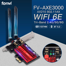 WiFi 6E FV-AXE3000 Bluetooth 5.2 Intel AX210 Wireless PCI-Express Adapter 2.4G/5G/6Ghz 5374Mbps 802.11AX Network WiFi Card Win10