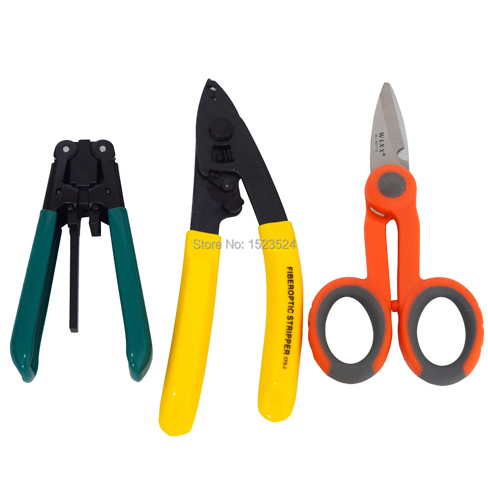3 In 1 FTTH Tool Kits With Drop Cable Stripper+ CFS-2 Fiber Optic Stripper+Kevlar Scissors