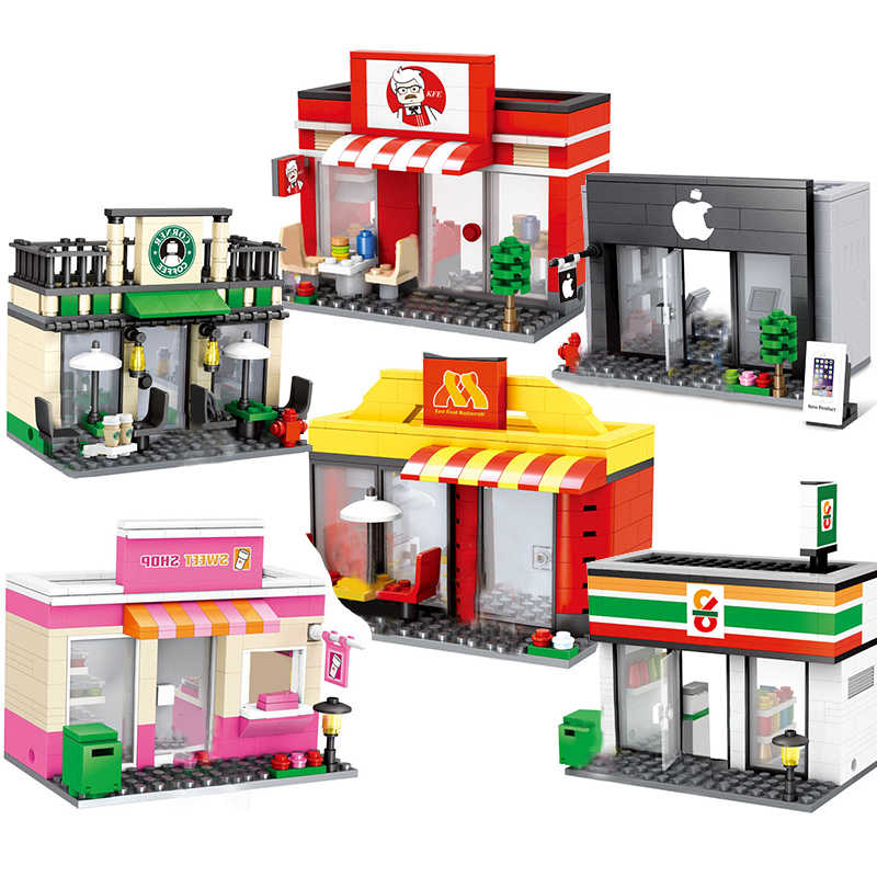 Retail Store Compatible Legoing Architecture City miniature Street View Food Shop Cafe Dinner Restaurant Building Blocks toys