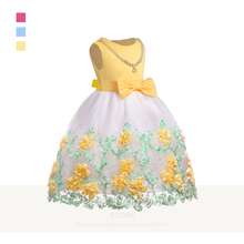 Grils Dress Summer Mesh Gauze Embroidered Bow Sleeveless Pearl Costume Wedding Party Elegant Princess Dress Children Clothes pearl embellished sleeveless dress