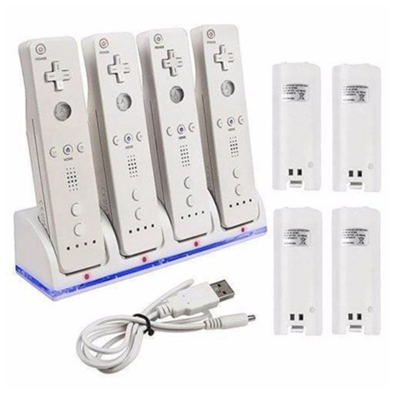 4Port Smart Charger Charging Dock Station with Rechargeable Batteries USB Data Cable for WII Game Console Accessories