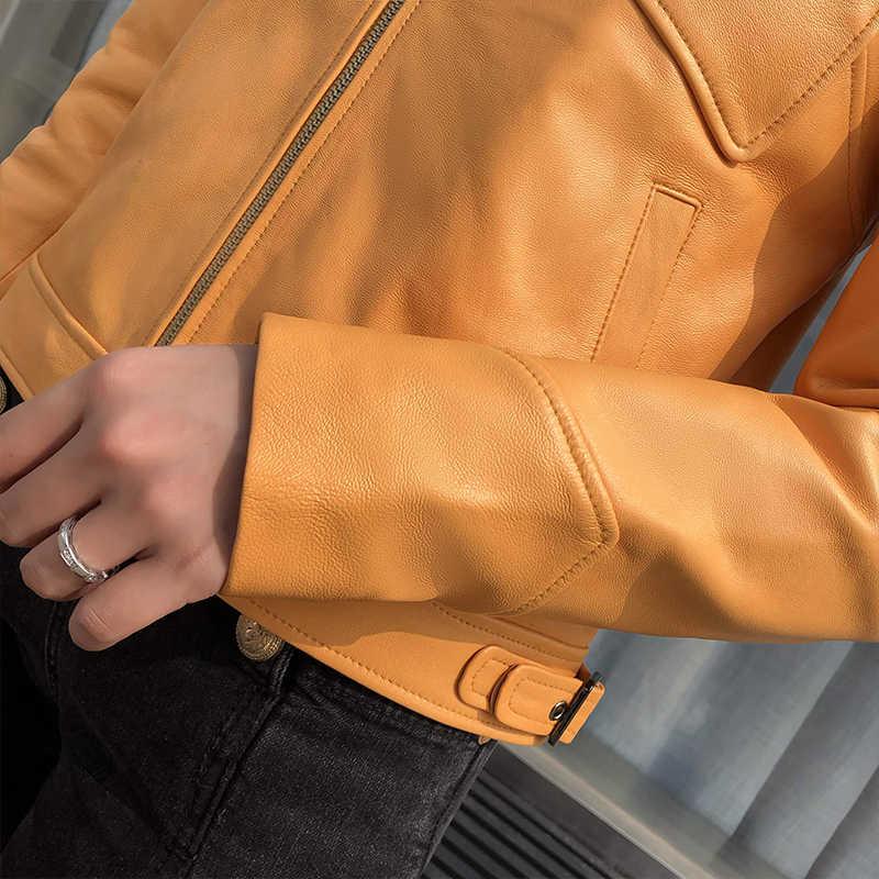 100% אמיתי כבש מעיל נשי אמיתי עור מעילי נשים קצר Montone & Biker מעיל נשי בגדי 2020 Hiver 1901