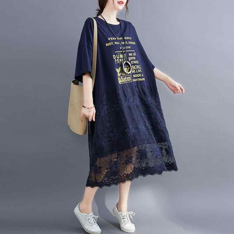 בתוספת גודל תחרה חולצה קיץ שמלת 2020 קוריאני כותנה Loose גבירותיי שמלות לנשים 4xl 5xl 6xl 7XL גדול הדפסת Midi שמלה